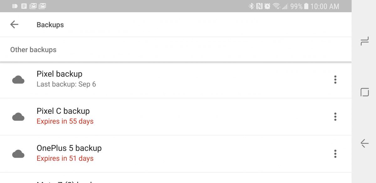 Резервные копии приложений удаляться, если телефон не активен 60 дней