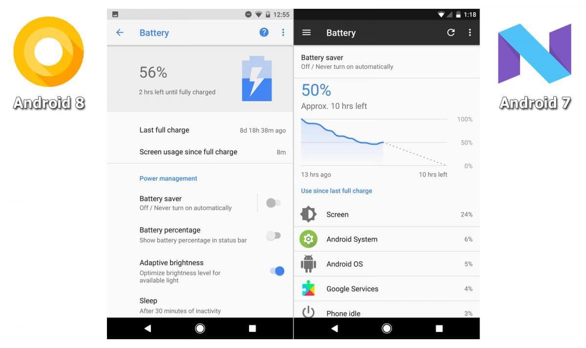 Визуальные отличия Android 8 и 7