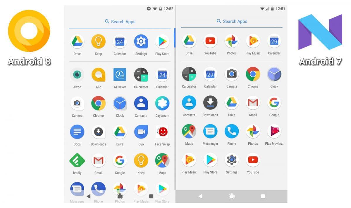 Оличие меню приложений в Android 7 и 8