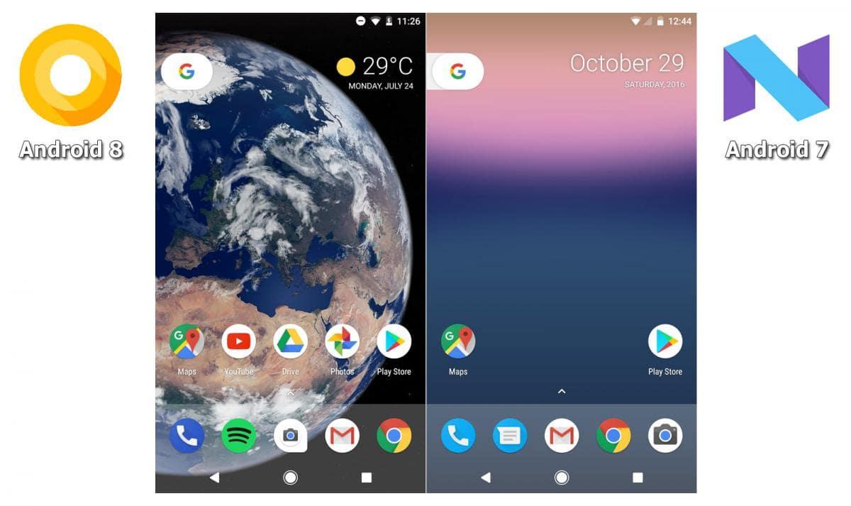 Отличия Android 7 и 8 - рабочий стол