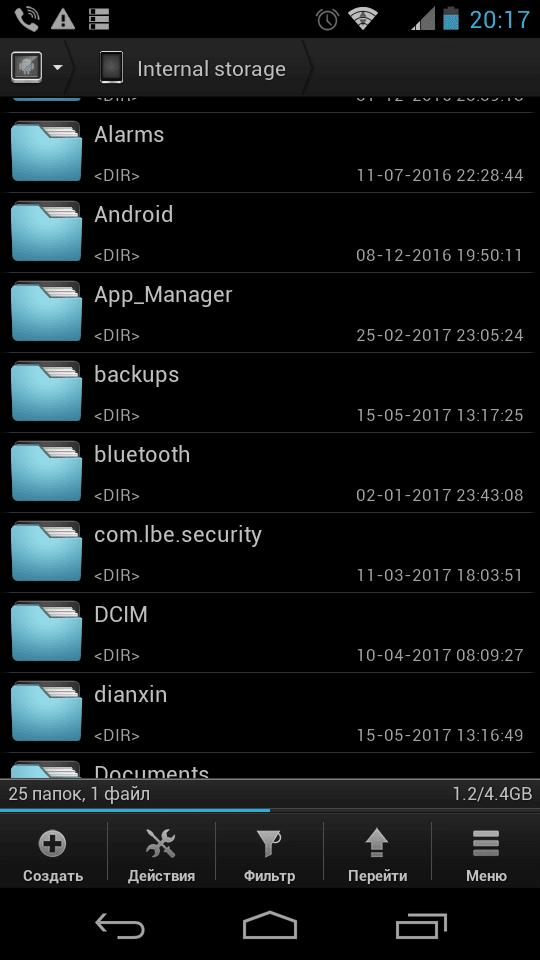 Назначение папок в файловой системе Android