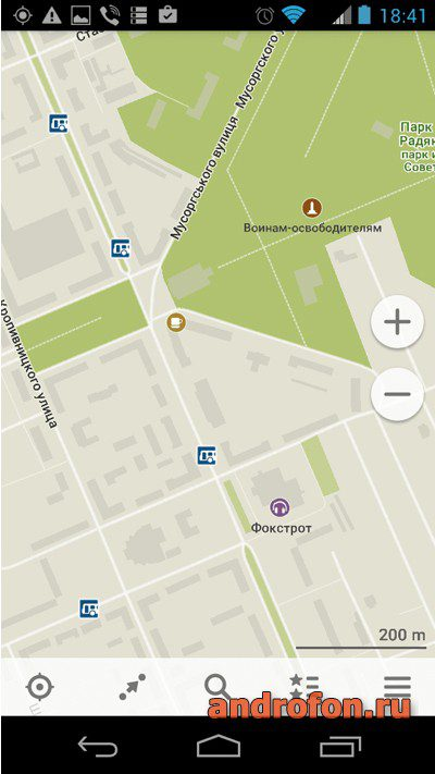 Интерфейс приложения «MAPS.ME».