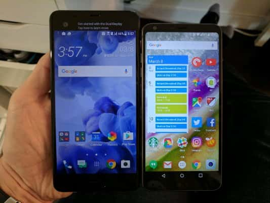 Размеры LG G6 и HTC U Ultra