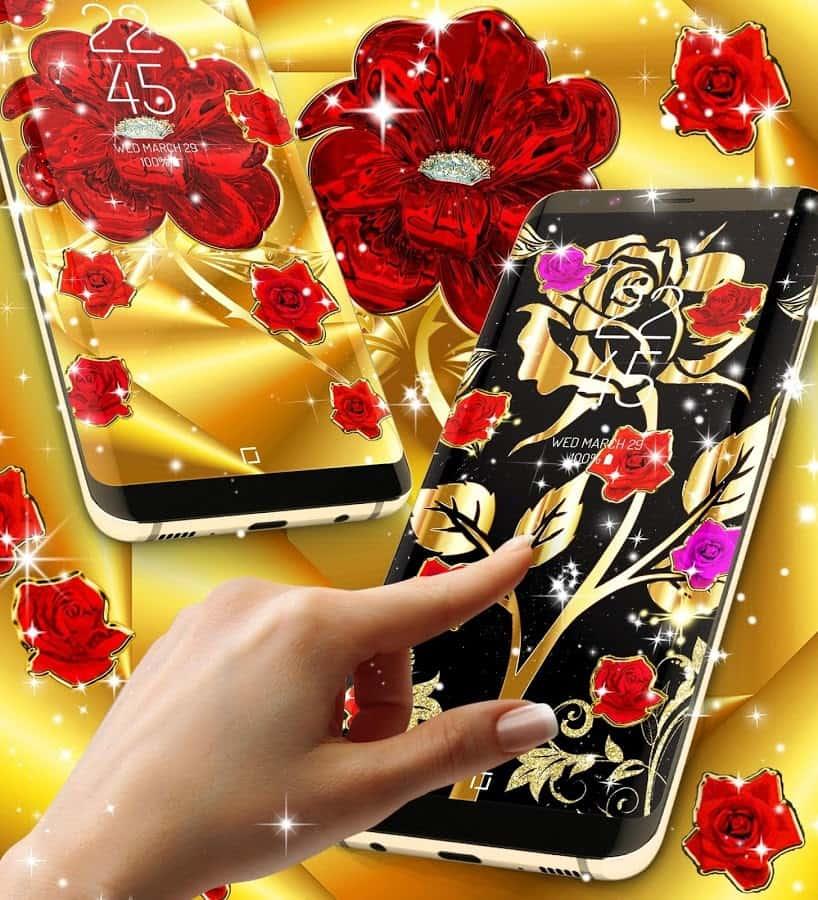 Золотые розы живые обои