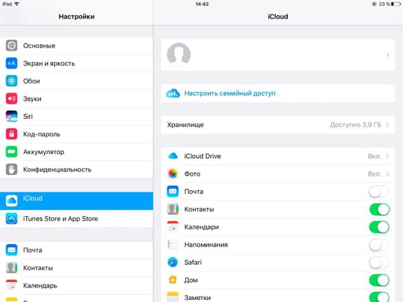 Включение синхронизации в настройках iOS.