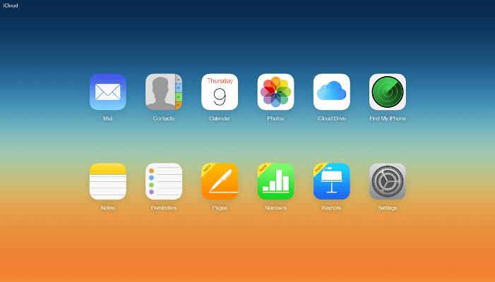 Окно iCloud.