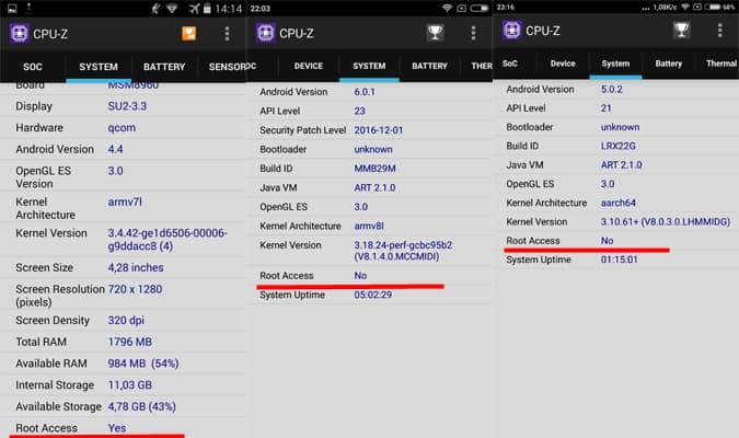 Разрешение права Root при просмотре через программу CPU-Z.