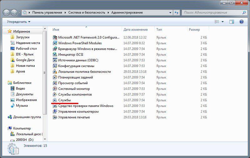 Службы ОС Windows.