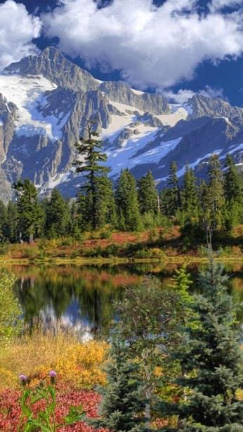 Горы, вода, облака скриншот 1