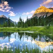 Горы, вода, облака logo