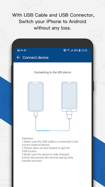 dr.fone - Switch iOS/iCloud contents to Android скриншот 4