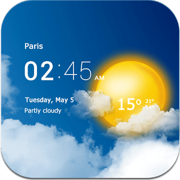 Прозрачные часы и погода logo