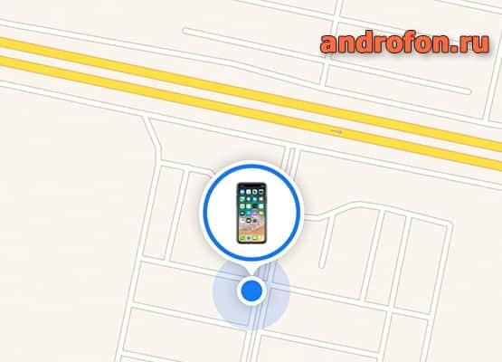 Местоположение телефона на карте.