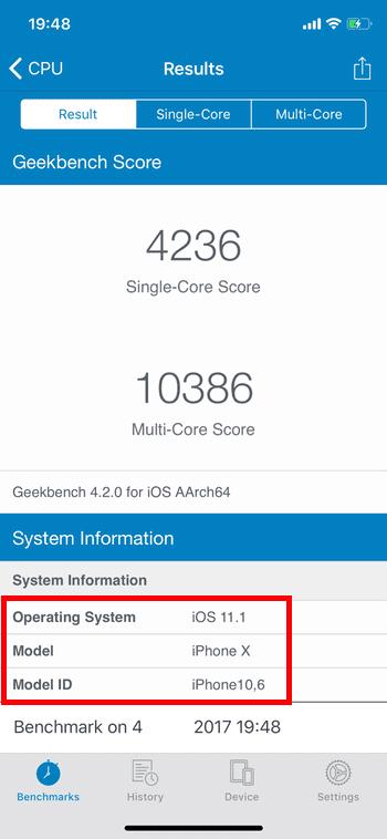 Тестирование в программе Geekbench 4. Программа определяет телефон как оригинал.