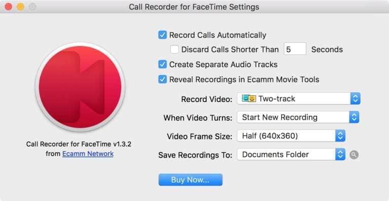 Настройки программы Call Recorder for Face Time.