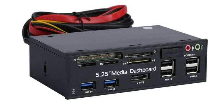 Универсальный картридер-USB концентратор, что встраивается в ПК.