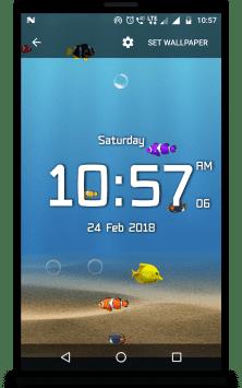 Аквариум с цифровыми часами скриншот 1