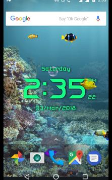Аквариум с цифровыми часами скриншот 2