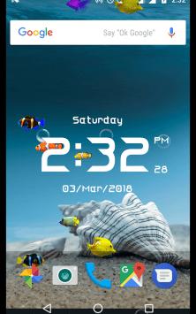 Аквариум с цифровыми часами скриншот 3