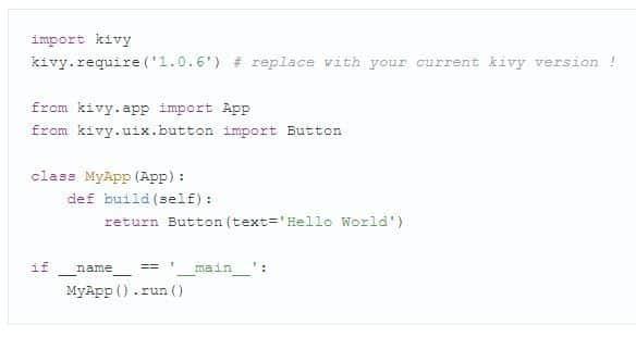 Пример кода Python в Kivy.