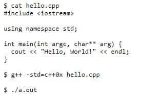 """Пример кода C++ в программе """"Hello, World!""""."""