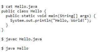 """Пример кода Java в программе """"Hello, World!""""."""