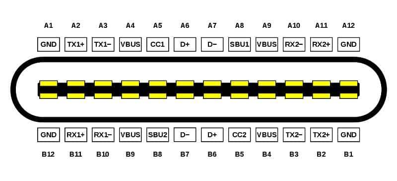 Распиновка контактов USB Type-C.