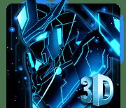 3D Синий неоновый робот тема logo