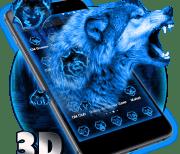 Тема 3D Neon Vivid Wolf logo