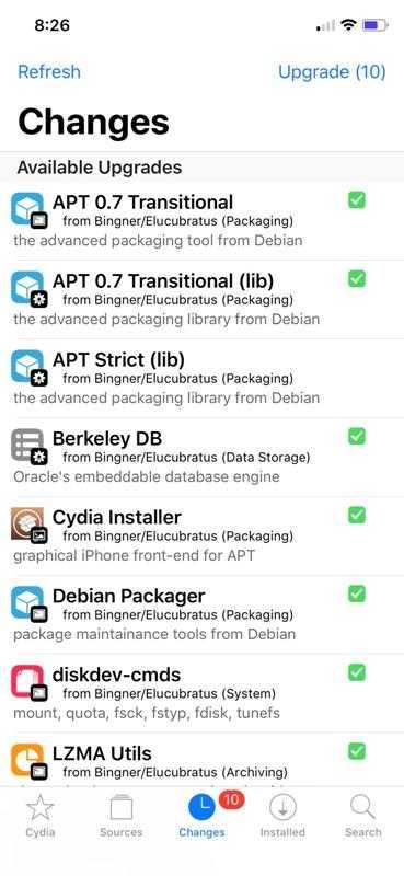 Окно приложения Cydia.