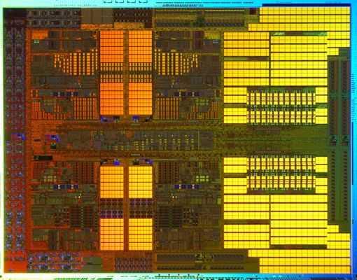 Транзисторы процессора под микроскопом.