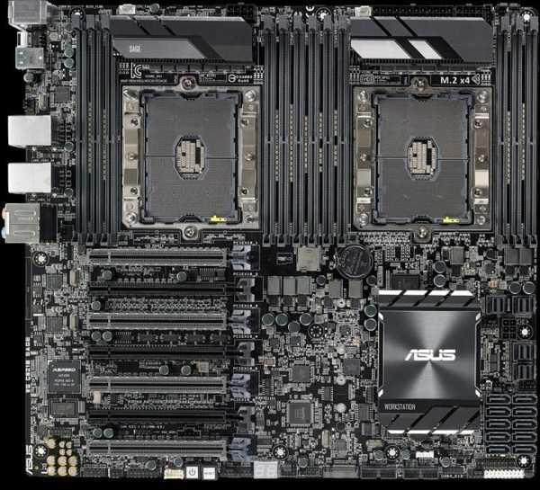 Двухпроцессорная материнская плата ASUS WS C621E SAGE на сокете Intel Socket P 3647.