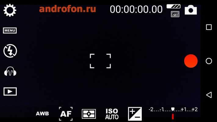 Интерфейс камеры в приложении Cinema FV-5.