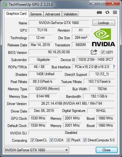 Интерфейс приложения GPU-Z.