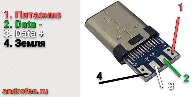 Распиновка USB-C штекера.