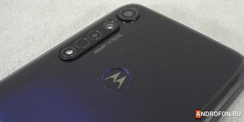 Сканер отпечатков пальцев на обратной стороне Motorola G8+.