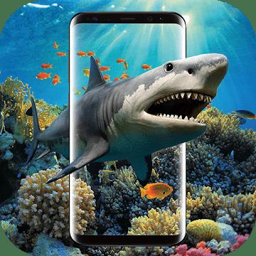 3D Акула в океане logo