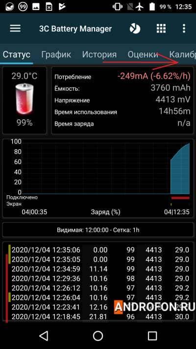 Проверка емкости в 3C Battery Manager.